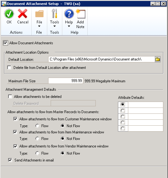 Document Attach in Dynamics GP: Using and Enabling