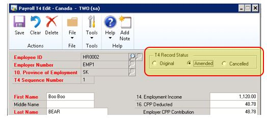 How to Amend or Cancel T4s in Microsoft Dynamics GP Canadian ...