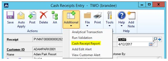 Willoware cash receipt report encore business solutions the first step is to enter the cash receipt and save it to a batch then to generate the cash receipt report simply click on the additional menu and thecheapjerseys Image collections