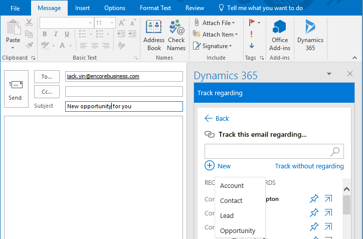 The Microsoft Dynamics 365 App for Outlook | Encore Business