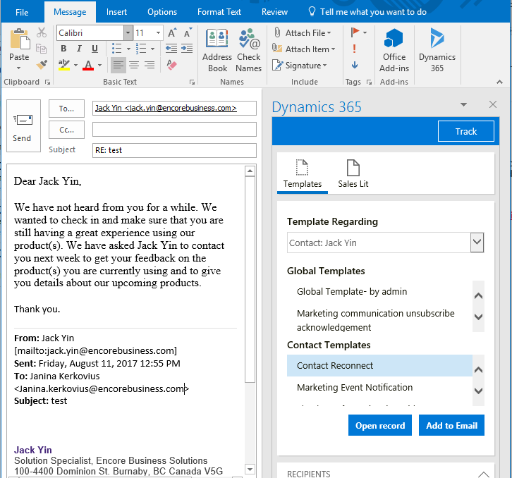 outlook 365 email template