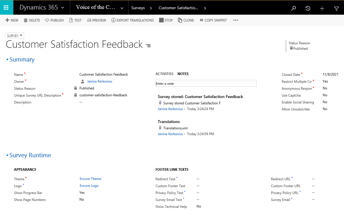 voice of the customer surveys dynamics 365 voice of the customer feature encore 4512