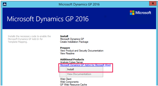 Microsoft dynamics gp add in for microsoft word encore business follow the installation instructions to accept the software license agreement click next maxwellsz