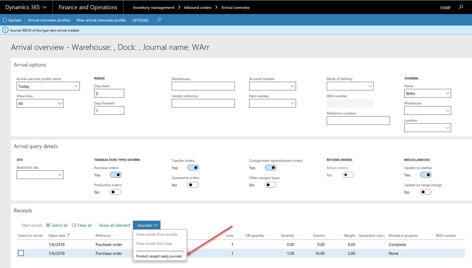 Arrival Overview Functionality in Dynamics 365 for Finance