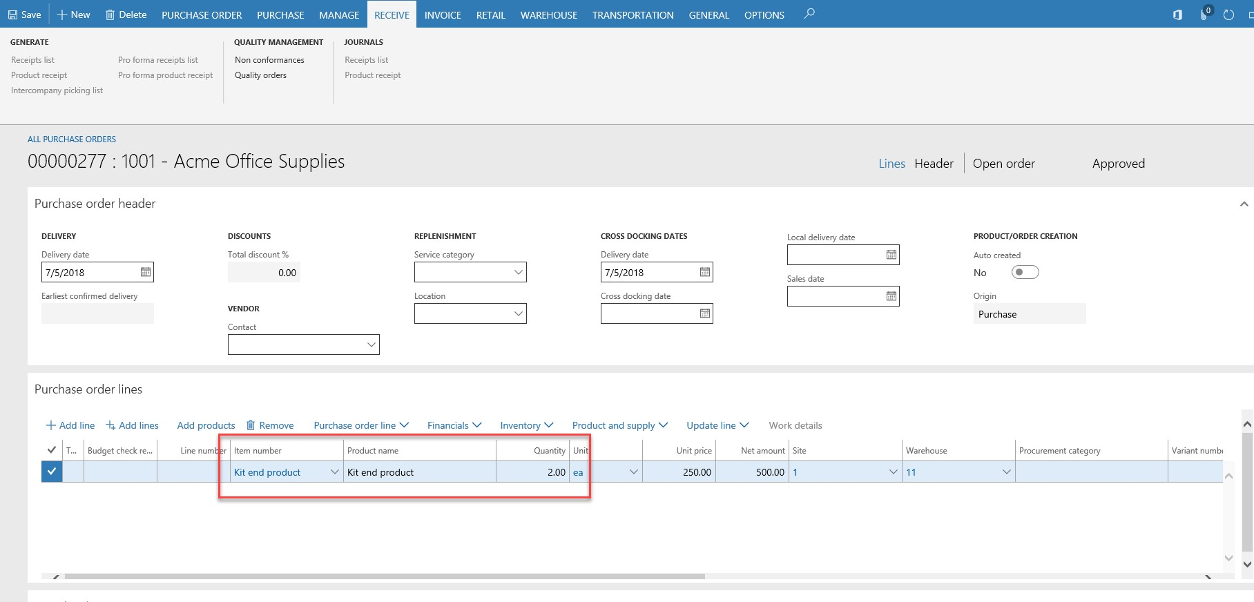 Bill of Materials as Kits in Dynamics 365 for Finance