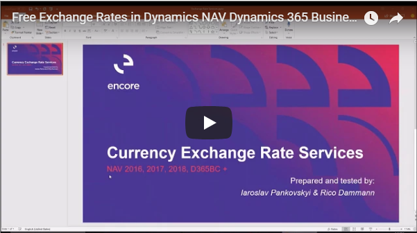 Free Exchange Rates in Dynamics NAV & Business Central   Encore