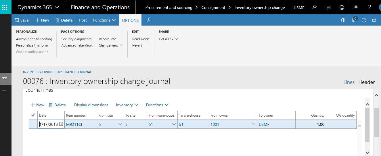 Consignment Vendor Inventory in Dynamics 365 for Finance