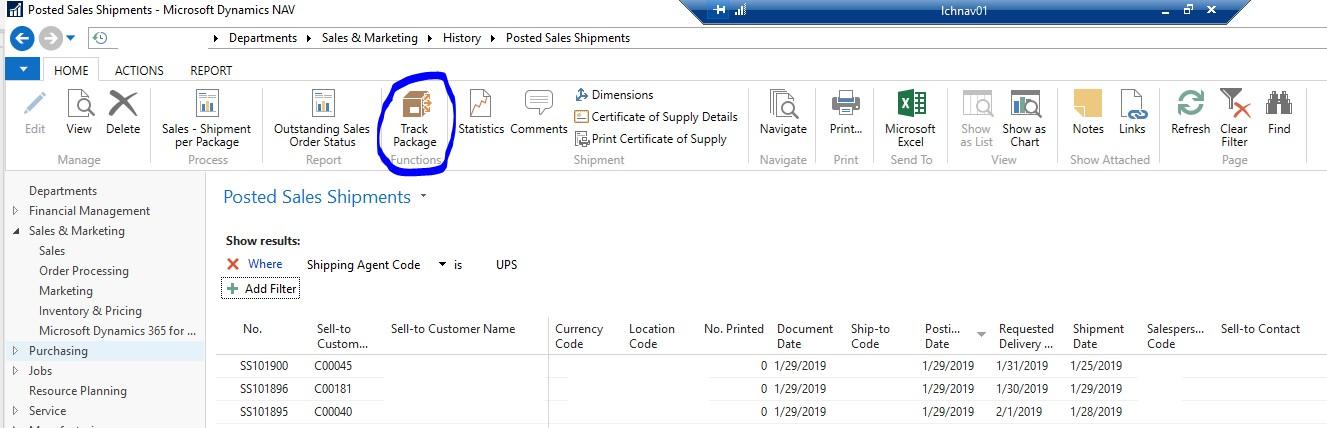 Posted Sales Shipments Dynamics NAV