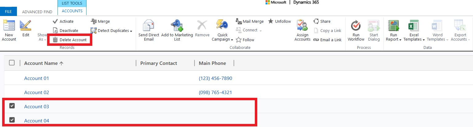 Dynamics 365 Advanced Find - Delete Account