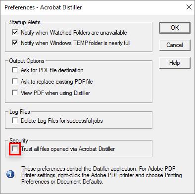 Adobe acrobat suppress security warning