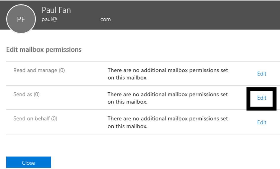 Edit mailbox permissions - D365 Business Central