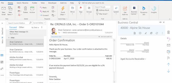 Business Central Invoice in Outlook