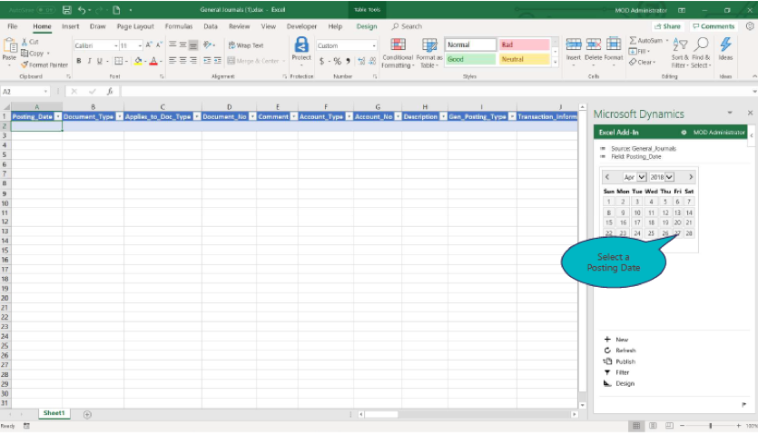 Journal entry Excel sheet