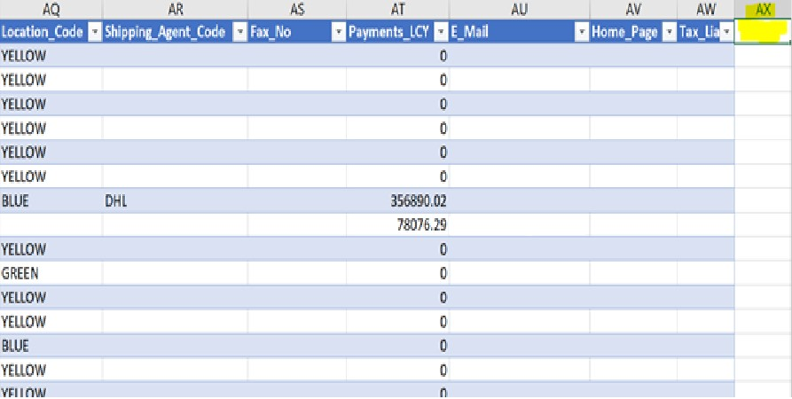 D365 Business Central - Edit in Excel Blank Column