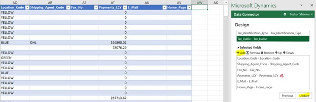D365 Business Central - Edit in Excel New Field