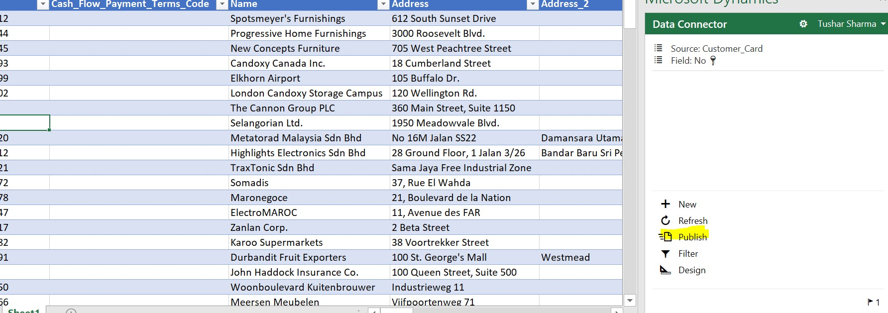 D365 Business Central - Edit in Excel Publish