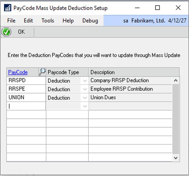 Paycode-Mass-Update
