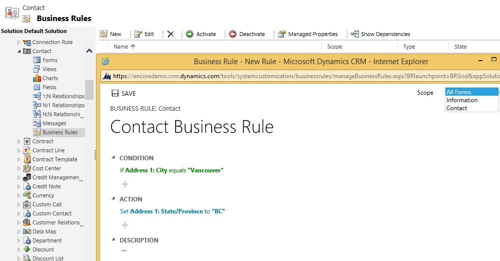 Business rules dynamics crm