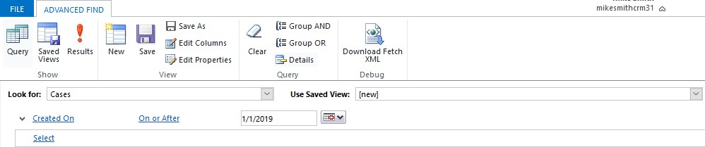 Advanced Find Query Created On
