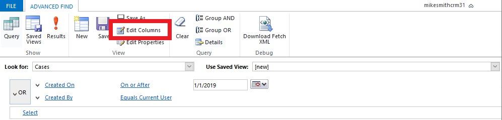 Advanced Find Query Edit Columns
