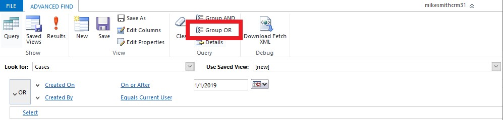 Advanced Find Query Group OR Functionality