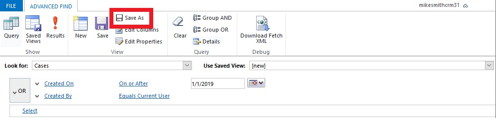 Advanced Find Query Save As