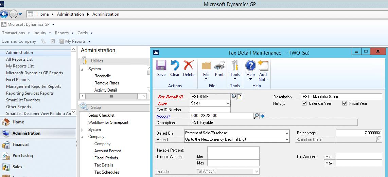 Screenshot of Tax Details in Dynamics GP