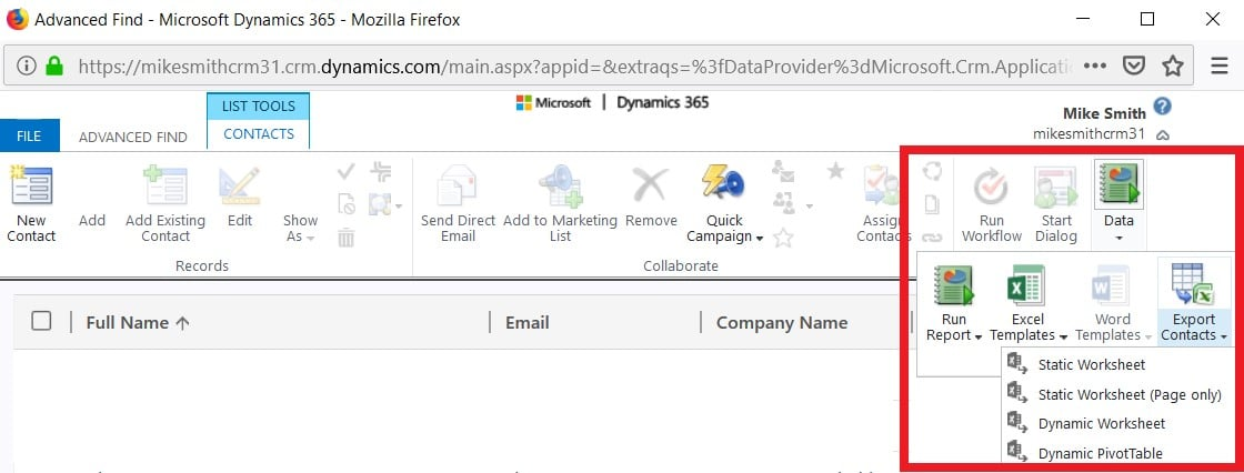 Dynamics 365 Export to Excel from Advanced Find