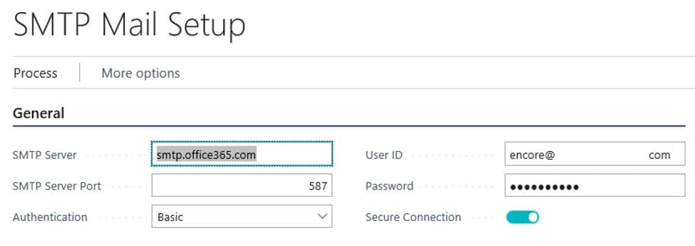 SMTP Mail Setup in D365 Business Central