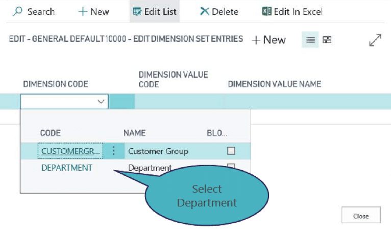 Select the dimension code from the dropdown