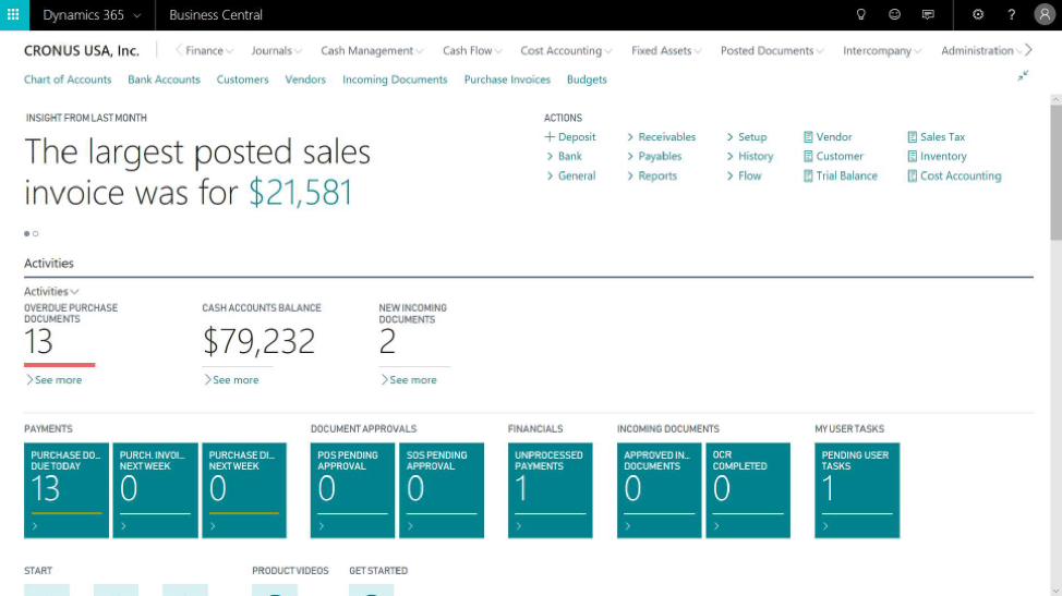 The Dynamics 365 Business Central homepage