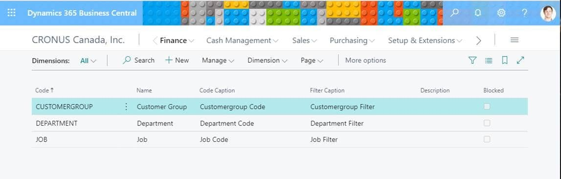 Dynamics 365 Business Central Dimensions